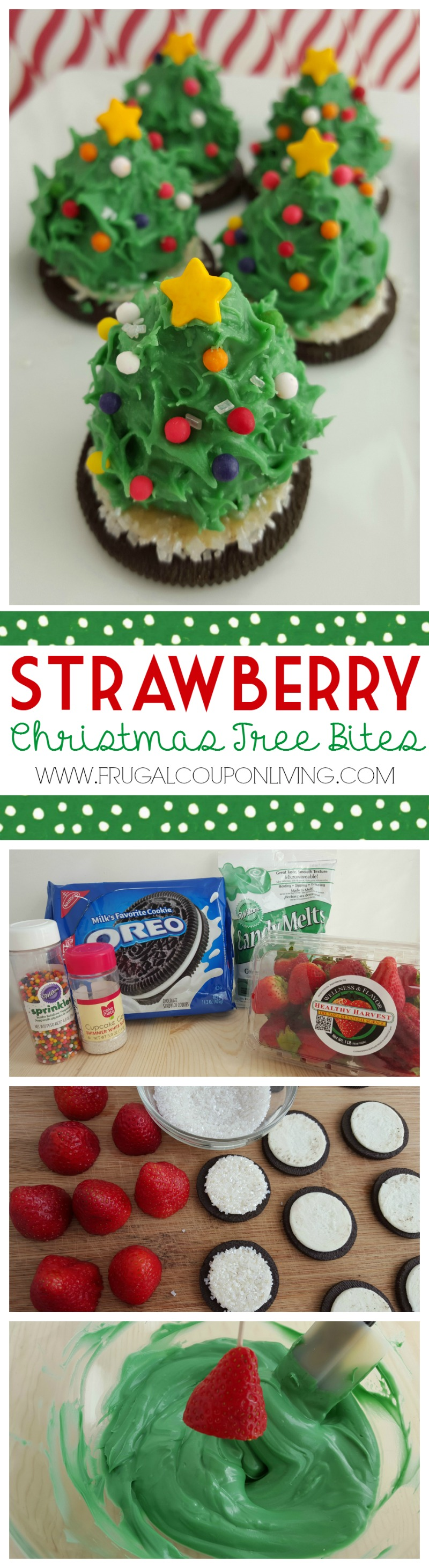 Strawberry Christmas Tree Bites Collage on Frugal Coupon Living