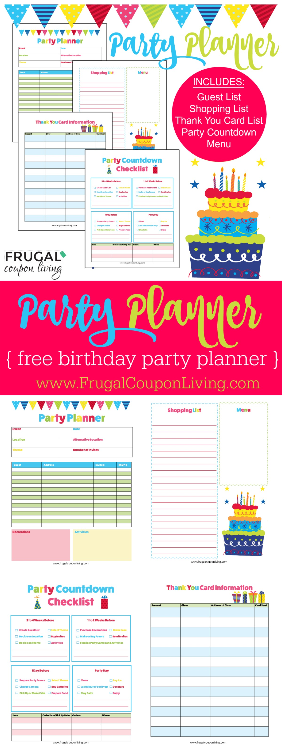 birthday party checklist free birthday planner 28932