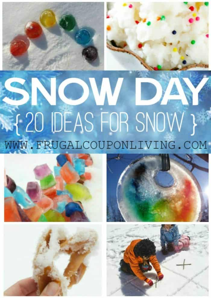 The ultimate list of snow day ideas - kids activities for winter, boredom busters and creative ways to have fun in the snow. #FrugalCouponLiving #snow #snowday #bored #boredombusters #kidsactivities #kids #family #winter