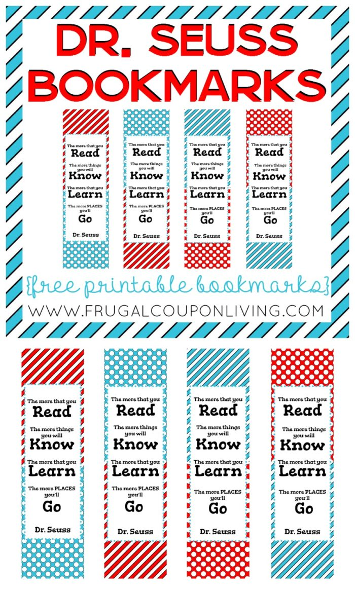 Free Dr Seuss Day Bookmarks - free printable bookmarks and Dr Seuss Quote the more you read. #drseuss #printables #freeprintables #drseussday #quotes #bookmarks #read #FrugalCouponLiving
