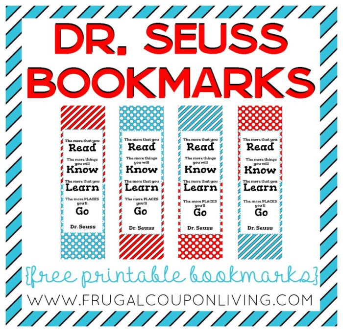FREE Printable Dr Seuss Bookmarks