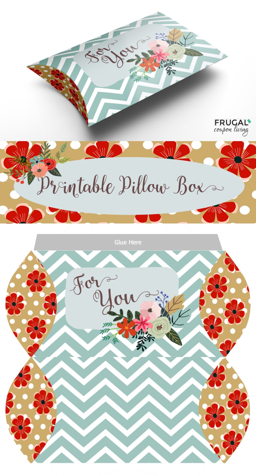 free print and fold pillow box craft