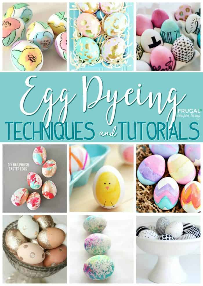 Easter Egg Dying Ideas - Think outside the carton with these creative and cute spring egg dyeing techniques and tutorials. #easter #eastereggs #eastercrafts #eggs #eggdyeing #dyeing #dye #tutorial #technique #FrugalCouponLiving #crafts
