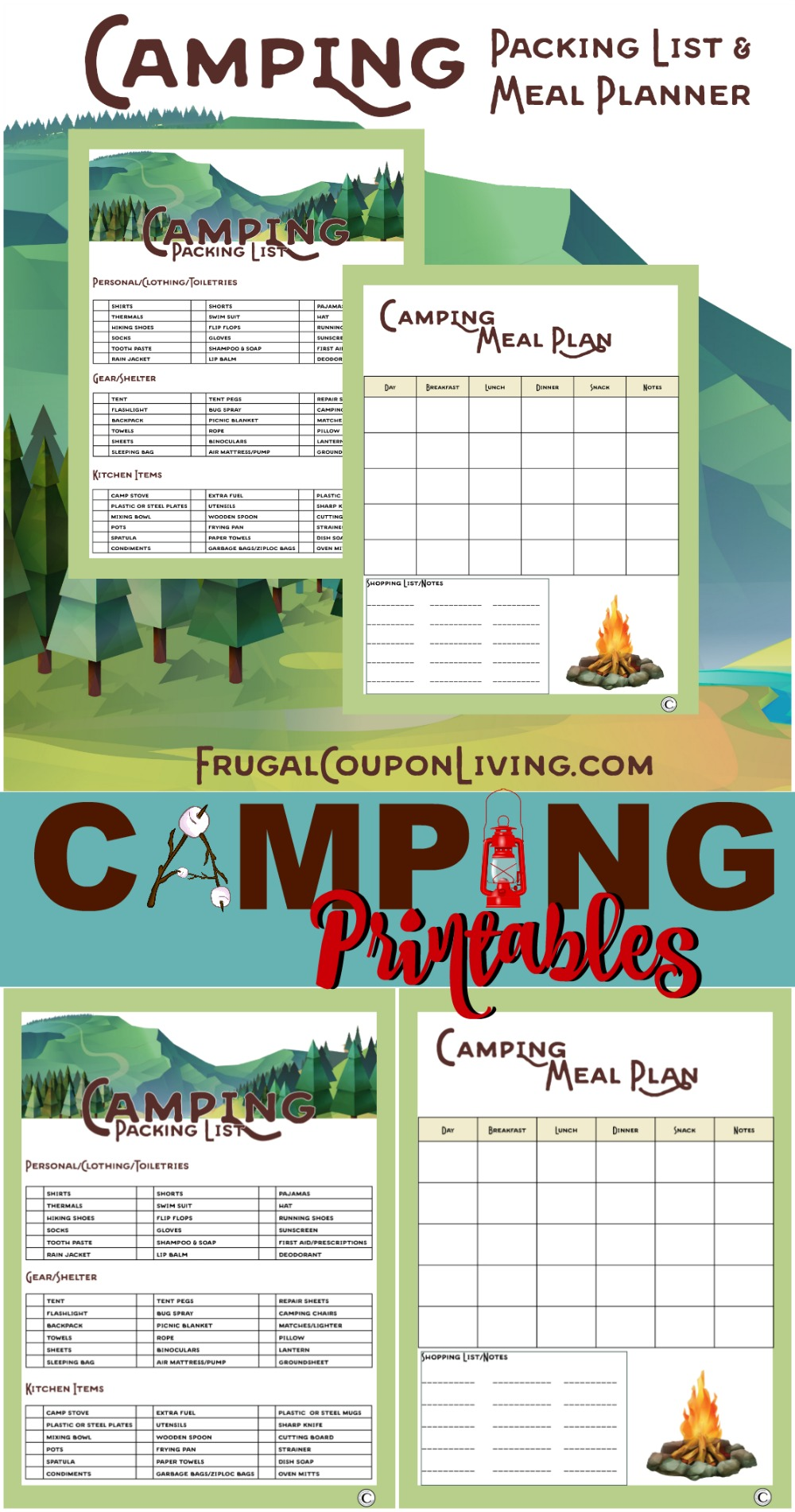 Camping Printables Packing List And Meal Planner