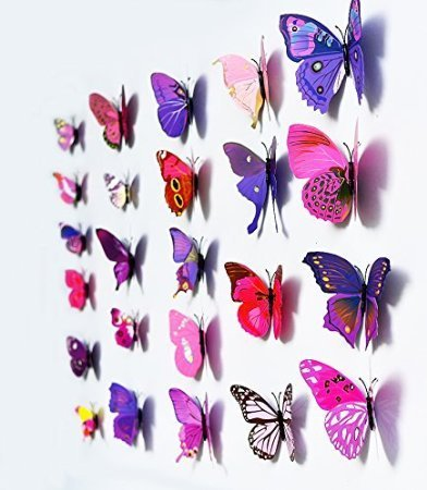 3d butterfly wall stickers only free shipping for Autocollant mural walmart