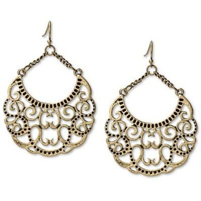 Etched Metal Chandelier Earring Gold