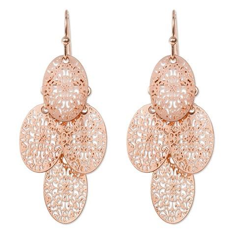 Women's Filigree Chandelier Earrings - Rose Gold