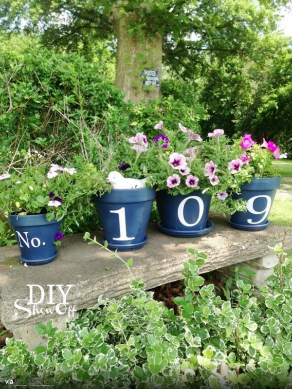 house-number-flower-pots
