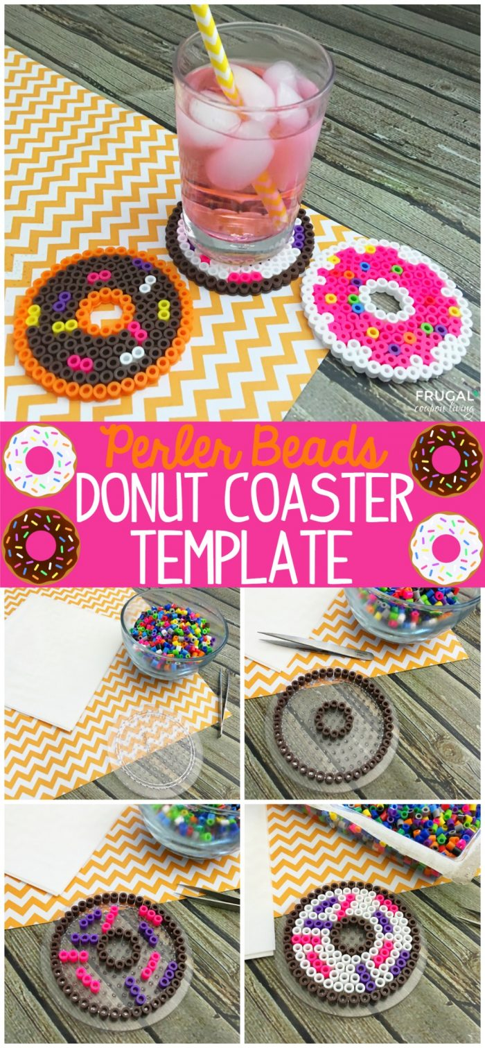 coaster size template - perler beads donut coaster template