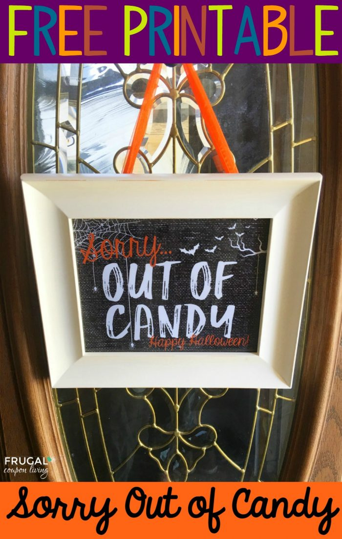 Sorry Out of Candy Free Printable Door Sign
