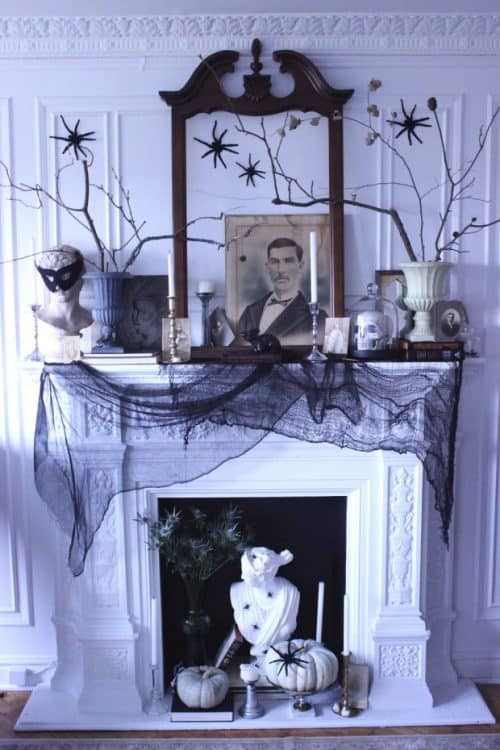 white-halloween-mantle