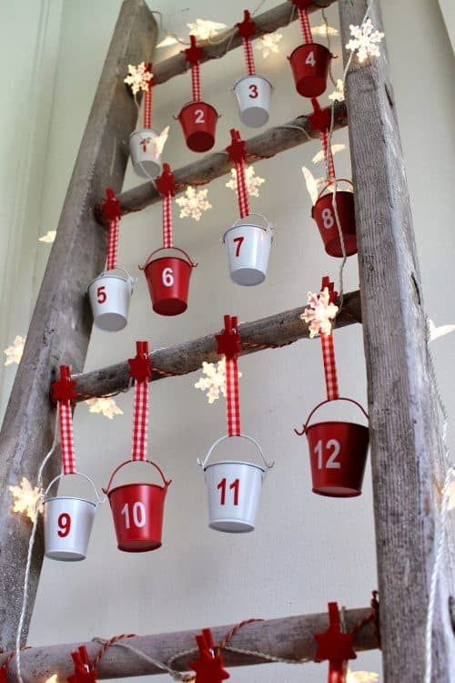 advent calander on a vintage ladder 1