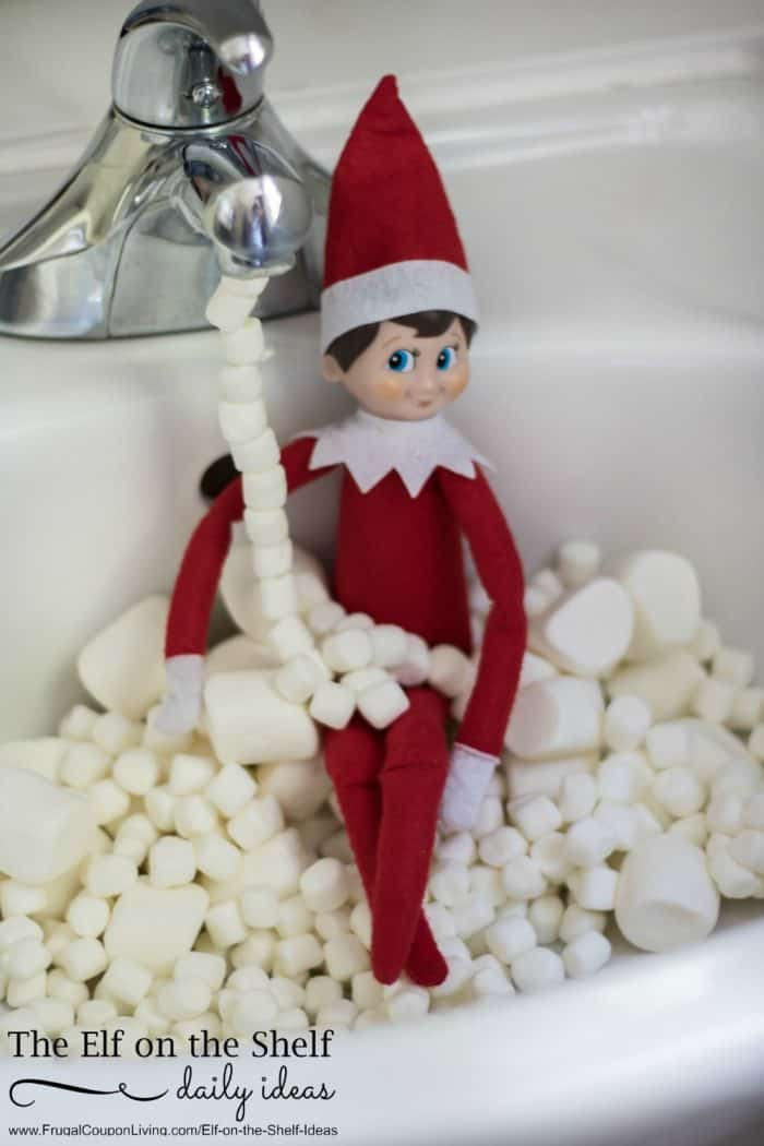 elf on the shelf ideas elf marshmallow bath