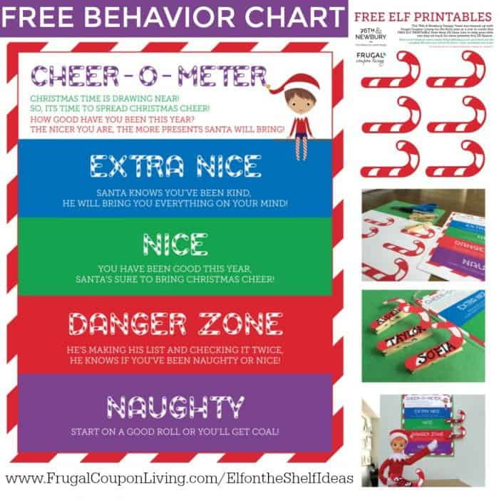 image about Elf Printable Coupons named Absolutely free Elf upon the Shelf Habits Chart Cheer-O-Meter