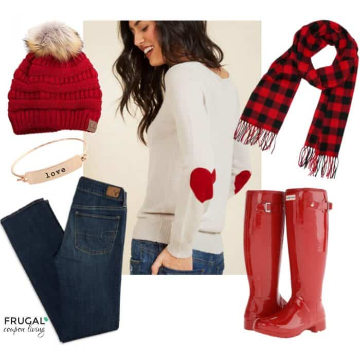 3f0d2b638ba53 Frugal Fashion Friday Red Hunter Boots Valentine Outfit