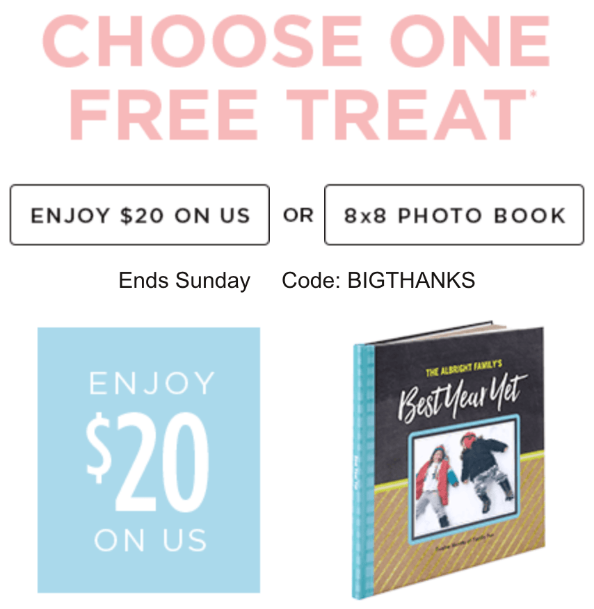 shutterfly free 20 credit or free photo book