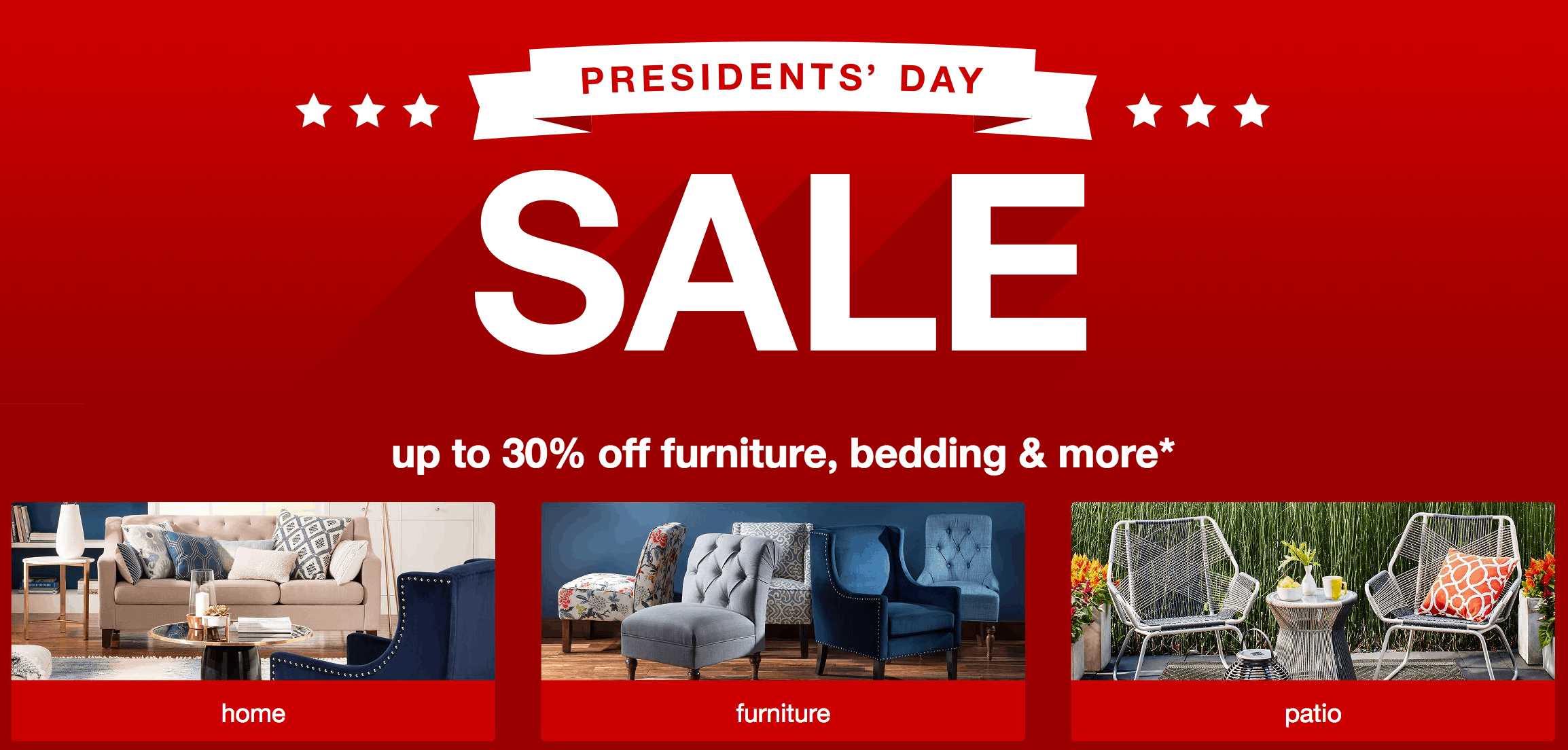 The Bullseye just announced their annual President's Day Sale and they're all geared towards home goods, bedroom essentials and bath accessories! Shoppers can enjoy up to 30% off all home items and and extra 15% off all indoor, outdoor furniture and rugs.