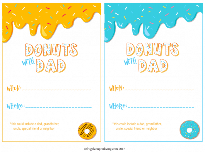 Free Donuts with Dad Printable Invite
