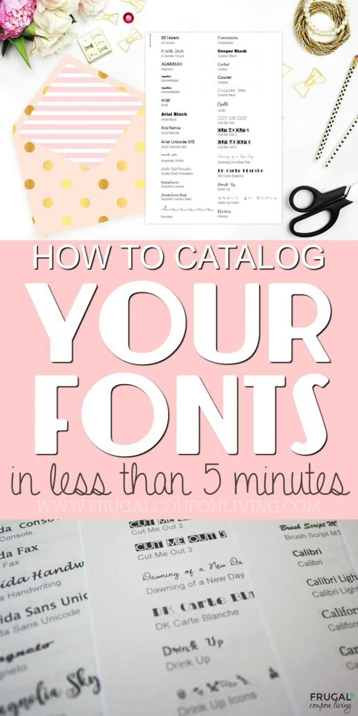 How to make a font catalog in five minutes #fonts #freefonts #frugalcouponliving #fontcatalog