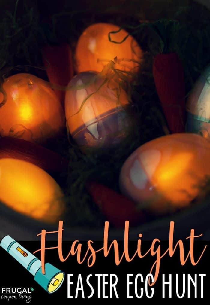 Flashlight or Glow in the Dark Easter Egg Hunt at Night. #Easter #FrugalCouponLiving #easter #eastereggs #easteregghunt #egghunt #glowinthedark #night #flashlight #eastercrafts #eggs #egghunt