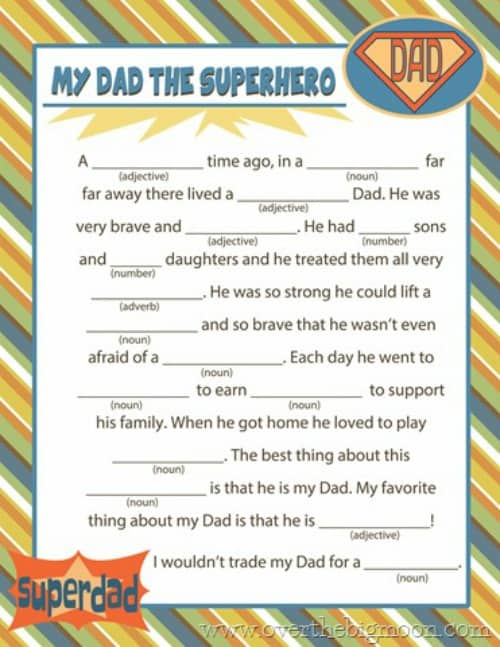 Have Fun With This Dad Mad Lib For Fathers Day This Always End Up So Comical Kids Say The Funnest Things Over The Big Moon