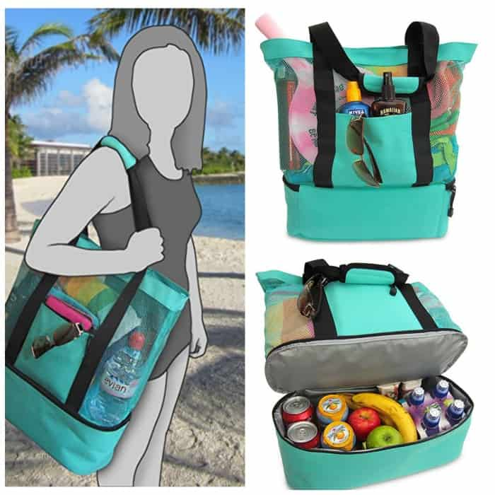 75bad5e330cb Aruba Mesh Beach Tote Bag with Insulated Picnic Cooler for $28.95!