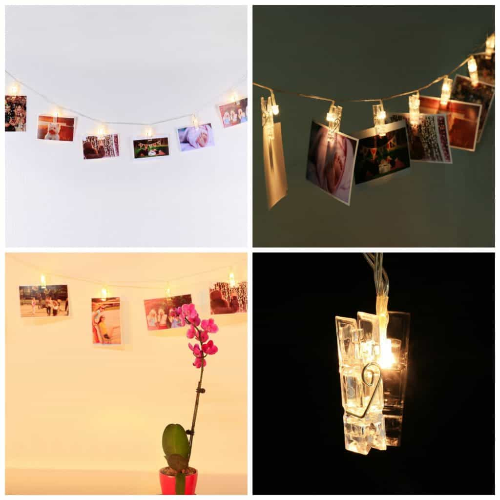 LED photo display string lights