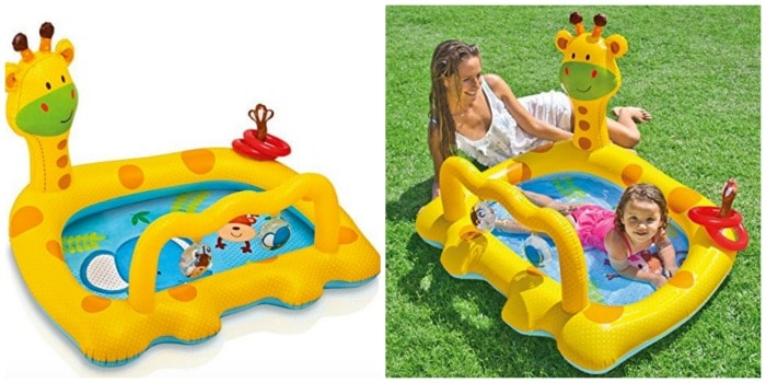How Adorable Is This Smiley Giraffe Baby Pool? This Cute Baby Pool Includes  Two Colorful Inflatable Rings And Two Dangling Noise Makers To Play With.