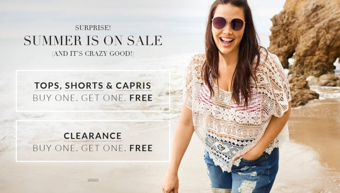 Lane Bryant: BOGO Sale on Tops, Shorts, Capris and Clearance!