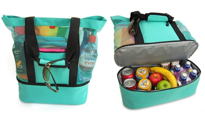 Mesh Beach Tote Bag with Zipper Top and Insulated Picnic ...