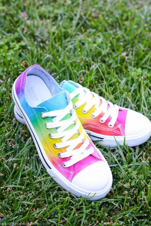 1b4163c5a356 Get your shoes ready for the school year with these Tie Dye Shoes Tutorial