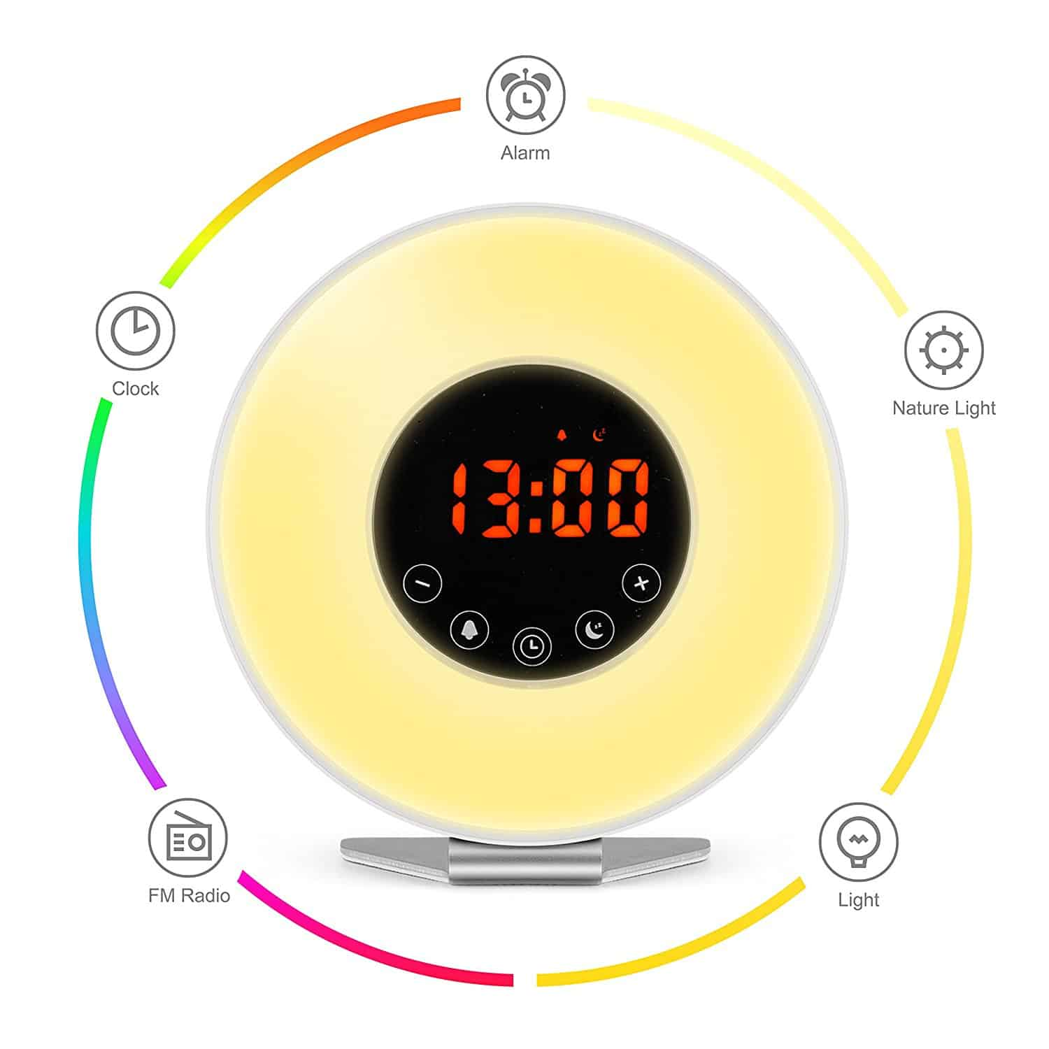 sunrise simulator alarm clock with night light from 80. Black Bedroom Furniture Sets. Home Design Ideas