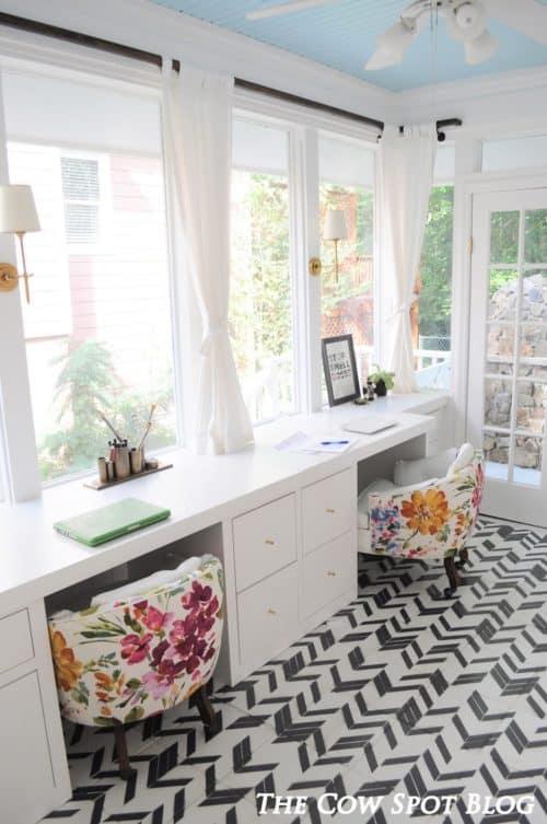 Inspiring home office decor ideas for her for Sunroom office design