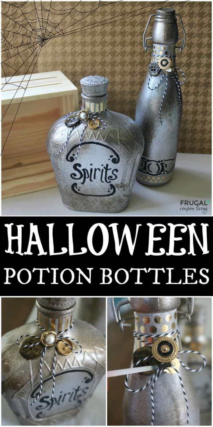 Save old glass jars and containers to make these up-cycled DIY Halloween Potion Bottles. We love this creative Apothecary Halloween Craft to make the most Boo-tiful decor for the October season. #FrugalCouponLiving #halloween #halloweencraft #upcycle #potion #potionbottle #halloweenpotionbottole #halloweendecor #homemadehalloweendecor #halloweenhometour #Apothecary