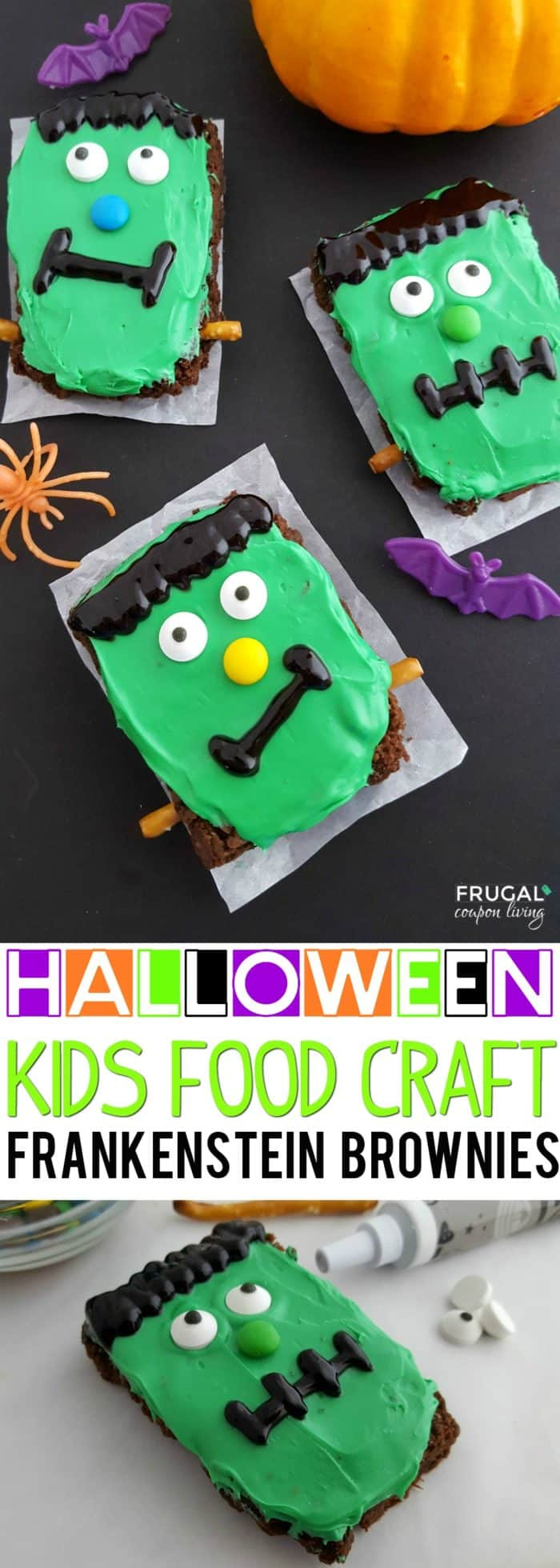 Feed your little monsters this tasty Halloween Dessert. We love these Frankenstein Brownies for a Halloween class party idea or to serve during the month of October for a home dessert idea. #FrugalCouponLiving  #halloween #halloweenbrownies #halloweendesserts #kidsfoodcrafts #frankensteinrecipe #halloweenrecipewithfrankenstein #recipes #brownies #brownierecipe #frankenstein #monster #monsterrecipe #monsterdessert