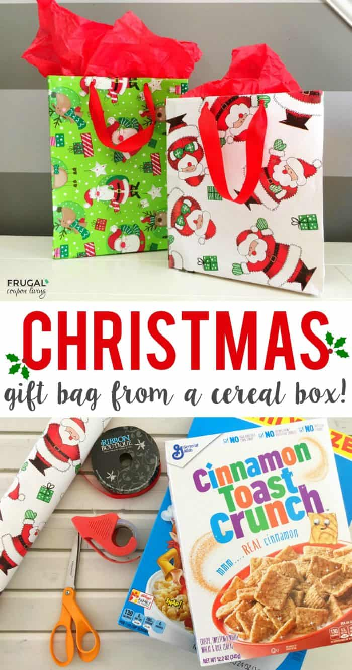 Upcycled Cereal Box Gift Bag and Christmas Craft