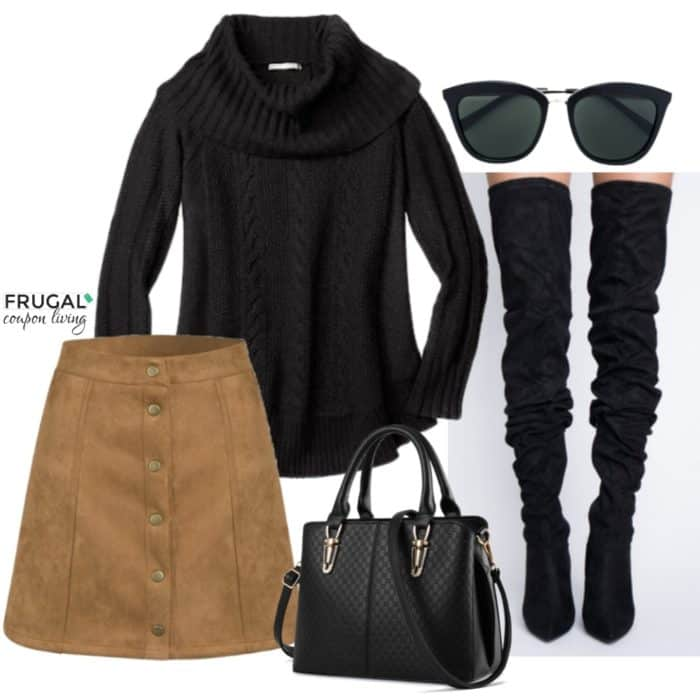 161184fa16 Frugal Fashion Friday Oversized Black Sweater and Tan Suede Skirt Outfit