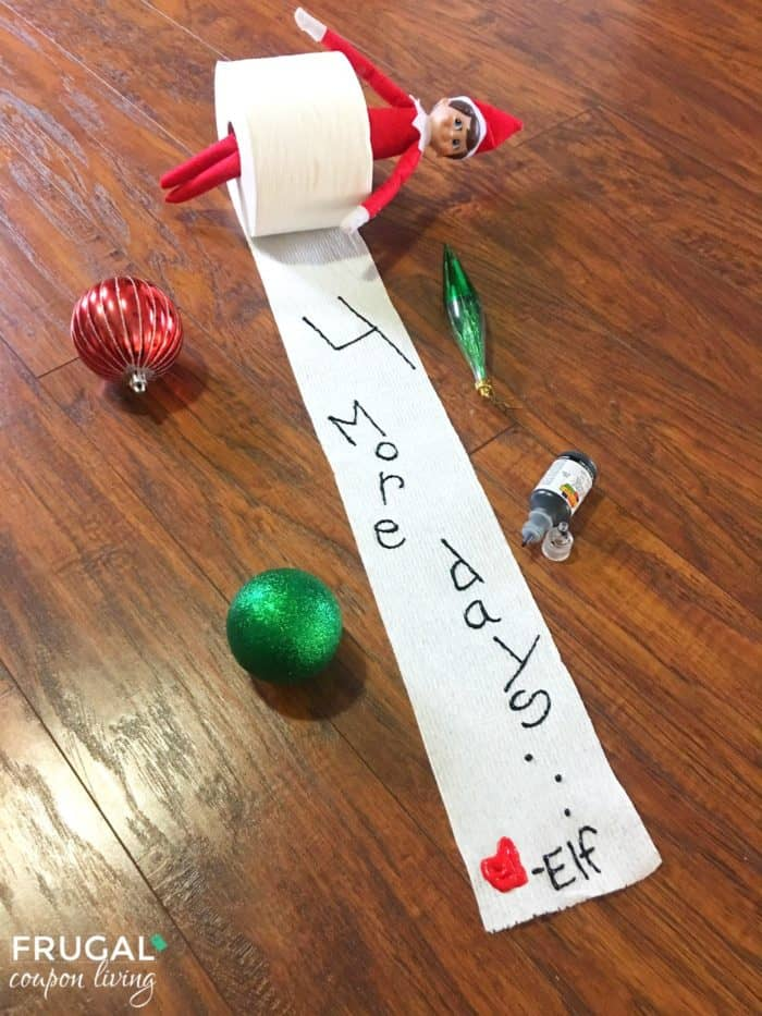 Are you following all of Frugal Coupon Living'sElfon the Shelf Ideas? See well over 100s of creative, funny, and original ideas for your Elf! Write down the days until Santa Comes with this Toilet Paper Countdown.