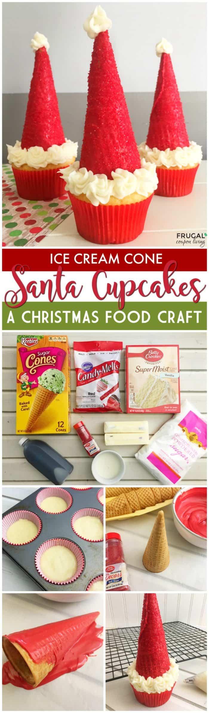 Ice Cream Cone Santa Hat Cupcakes