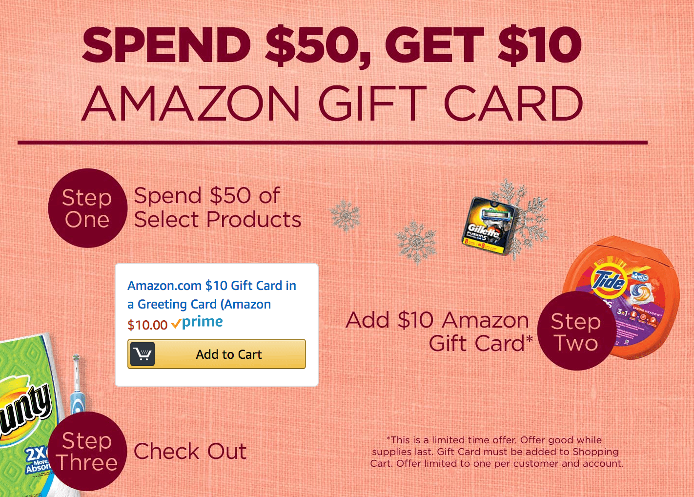 Amazon Free 10 Gift Card With P G Product Purchase