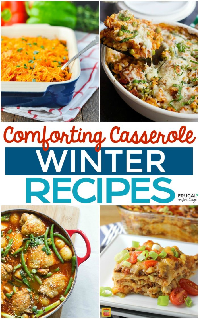 Comforting Casserole Winter Meals on Frugal Coupon Living. Easy, warming, and with little prep. Let your oven do all the work! #casserole #winter #recipes #casserolerecipe #winterrecipes #comfortfood #warmdishes