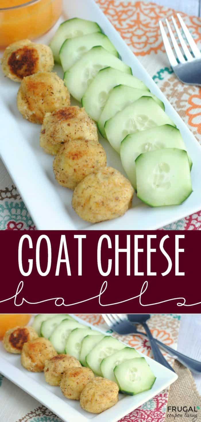 Copycat Goat Cheese Balls. Delicious, creamy cheese bites coated with a blend of almond flour, bread crumbs and thyme. Pair with a sauce of mango, papaya and pineapple. A tasty cheese appetizer just like every one's favorite LA Restaurant SUR! #goatcheeseballs #cheese #recipes #appetizer #appetizerrecipes #SUR #copycat #copycatrecipes #goatcheese #goatcheeseballs #FrugalCouponLiving