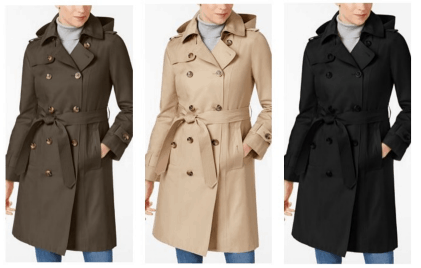 6b795f66b London Fog Hooded Belted Trench Coat Just  84.99!