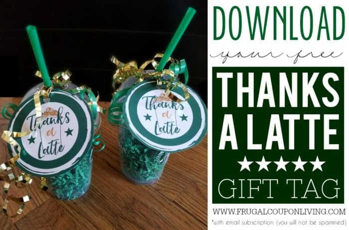 image regarding Thanks a Latte Printable Tag named Due A Latte Printable - Starbucks Present Card Tag