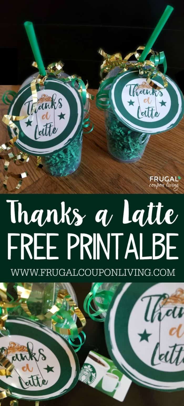 Thanks A Latte Printable - Starbucks Gift Card Tag