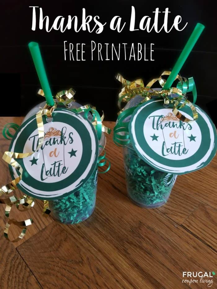 photo relating to Starbucks Printable Gift Card identified as Because of A Latte Printable - Starbucks Reward Card Tag