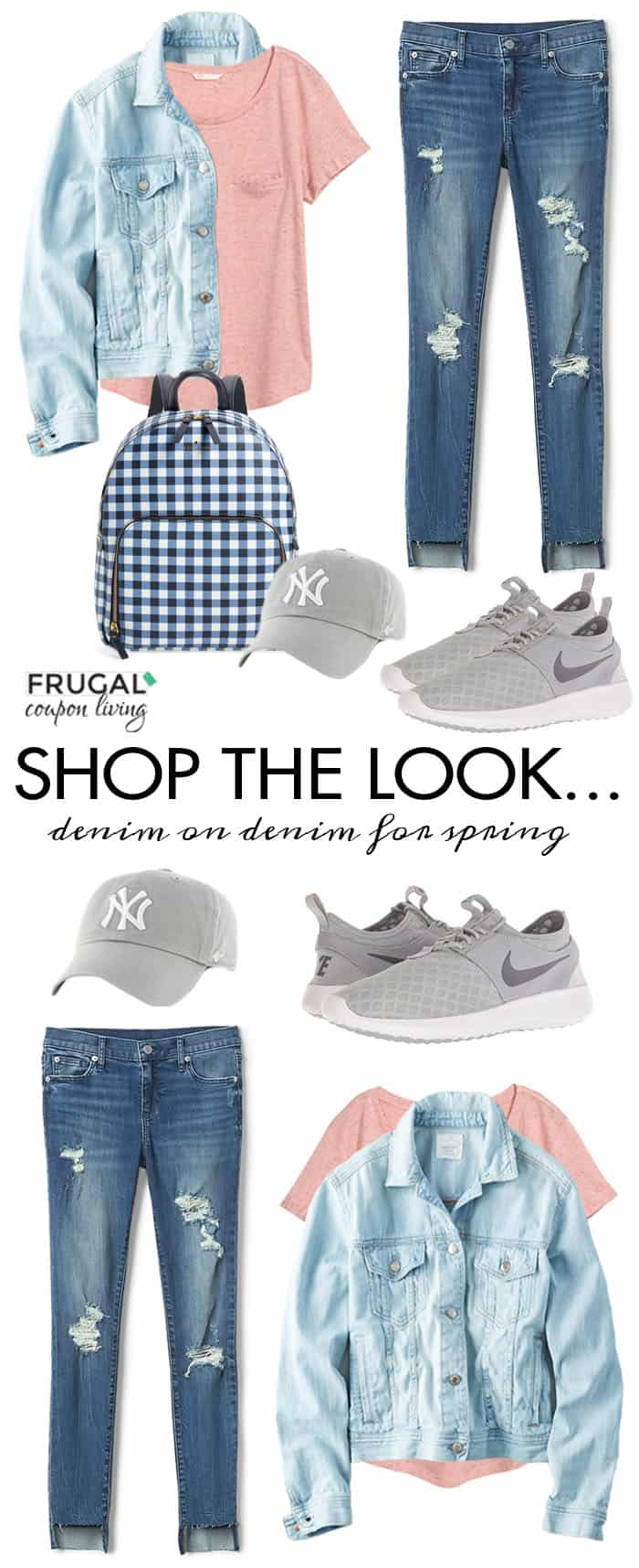 It's anotherFrugal Fashion Friday. This week we focus on a Denim on Denim Outfit for the Spring. Jean jacket, distressed jeans and more! #FrugalCouponLiving #FrugalFashionFriday #springfashion #fashion #ootd #outfit #springootd #denimoutfit #denim #streetstyle