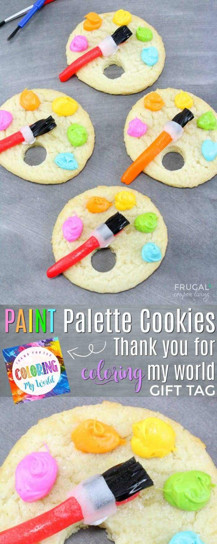 Artist Paint Palette Cookies plus Bonus Printable Gift Tag