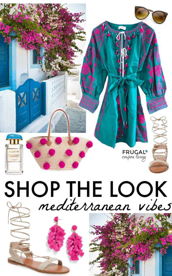 Escape to a landscape of white buildings and a sea full of the deepest of blues with this week's Frugal Fashion Friday Mediterranean Outfit! #fashion #frugalfashionfriday #frugalcouponliving #summerfashion #springfashion #springoutfit #summeroutfit #ootd #outfit #summerstyle #springstyle #fashionfriday #greece #greeceootd #greecefashion #Mediterranean #Mediterraneanstyle