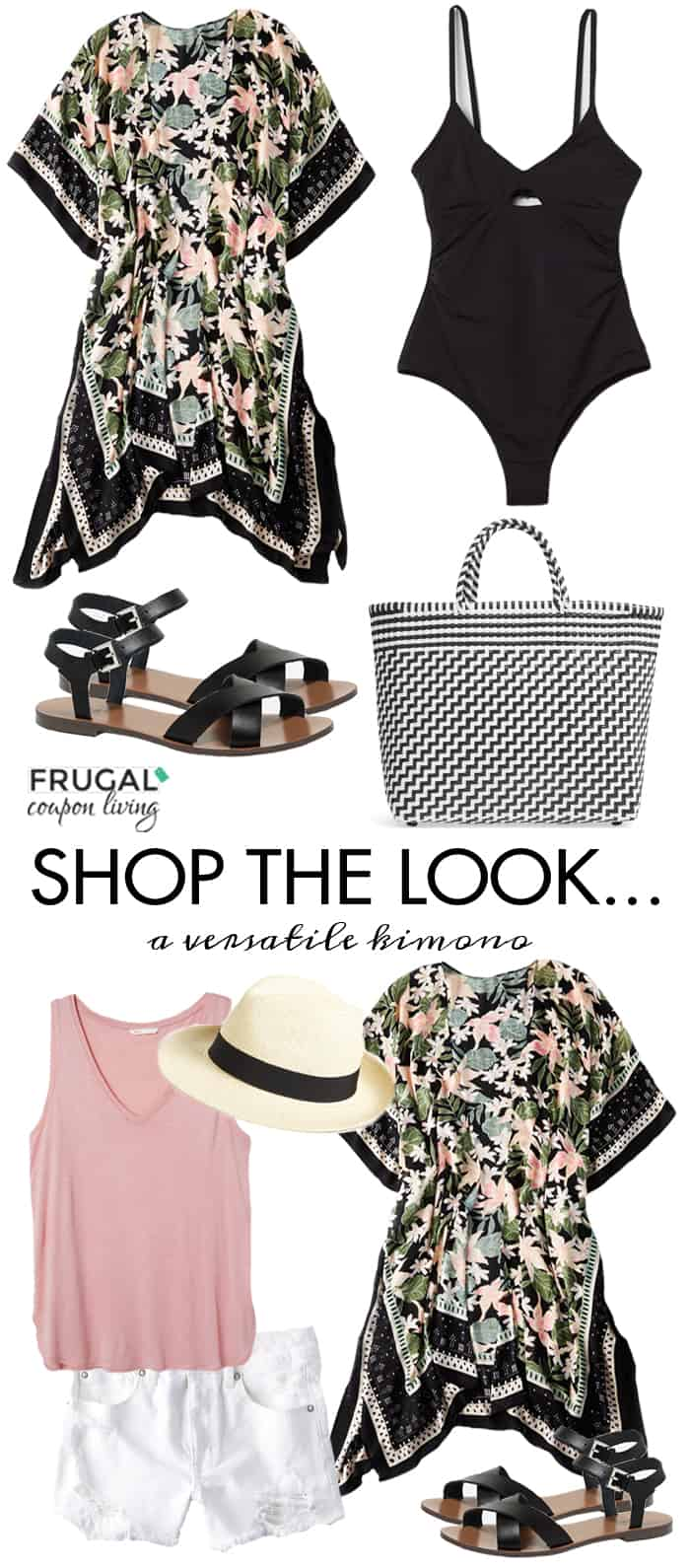 We wanted to take an outfit from the beach to the evening out with this versatile kimono outfit. We paired this adorable floral kimono with a fun swimsuit and hat and later pair with a tank and cut offs. . #frugalcouponliving #fashion #frugalfashionfriday #frugalcouponliving #summerfashion #springfashion #springoutfit #summeroutfit #outfit #summerstyle #springstyle #fashionfriday #ootd #beachoutfit #blackkimono #floralkimono #kimono #beachstyle #pooloutfit